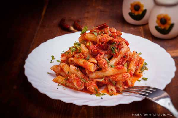 Ready to serve penne all'arrabbiata yes angry penne.