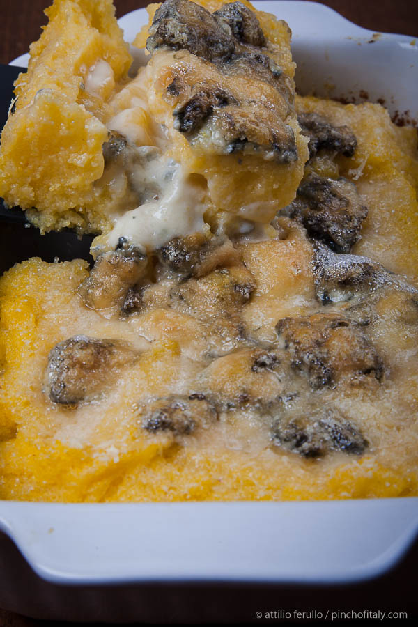 Lasagna made  with polenta and gorgonzola cheese...
