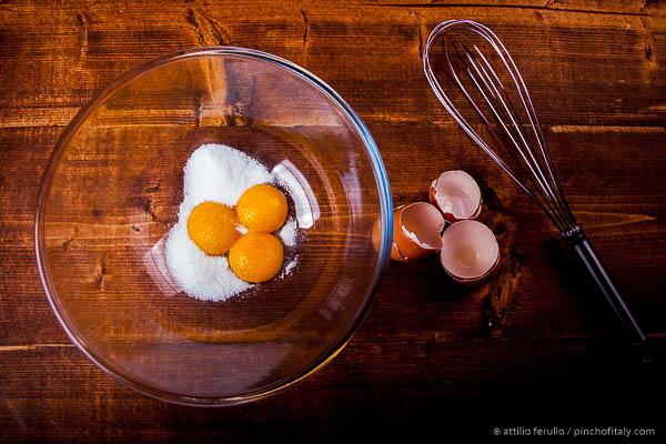 3 yolks of eggs in a bowl...
